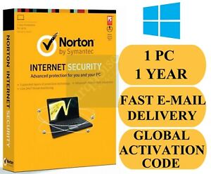 Norton Internet Security 1 PC 1 Year Credit Card Not Required (Global Key) 2021