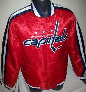 WASHINGTON CAPITALS Starter Snap Down Jacket RED   S M L XL 2X