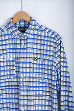 L399/49 Lyle&Scott Blue/White Long Sleeved Checkred Casual Oxford Shirt, size M