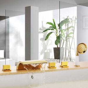 5-piece Bathtub Faucet Five-hole Separation PVD-Ti Gold Hand Spray Shower Set