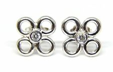 14 KT WHITE GOLD FLORAL DESIGN SMALL STUD EARRINGS WITH 0.10 CT DIAMONDS