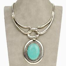 Vintage Oval Tribal Genuine Turquoise Statement Charm Beauty Necklace Pendant