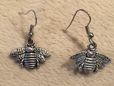 Handmade Sterling Silver Hook/Ear Wire Tibetan Bumble Bee Dangle Drop Earrings