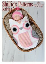 KNITTING PATTERN for BABY OWL COCOON PAPOOSE 3 SIZES  #250 NOT CLOTHES