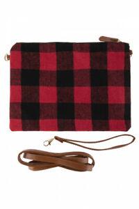 Red Buffalo Plaid Crossbody Bag Pouch Purse