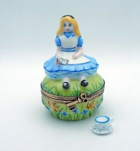 New Hand Painted French Limoges Trinket Box Alice in Wonderland & Remov. Tea Cup