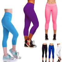 AU SELLER Womens High Waist Yoga Sports Gym Running Base 3/4 Pants Tights P020