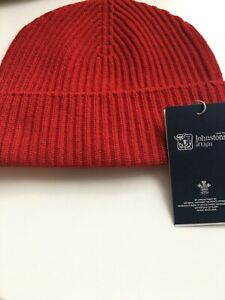 Johnstons Made In Scotland Crimson Red Hat Ribbed 100% Cashmere Beanie