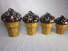 Set of 4 Figural Chocolate Chip Ice Cream Cone Ceramic Cookie Jars/Canisters.