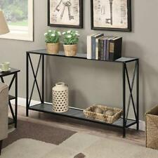 Modern Console Table/Desk Shelf Stand Sofa Entryway Hall Furniture Black 2-Tiers