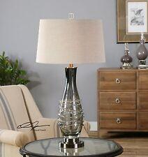"Designer 31"" Charcoal Gray Glass Gun Metal Base Table Lamp Hardback Shade"