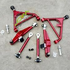 Front Adjustable Lower Control Arms Tension Rod FIT Nissan 240SX S13 180SX red
