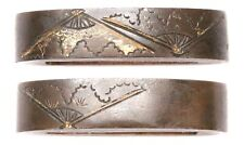 Antique Japanese Fuchi Shibuich Gold Fans Samurai Sword Fitting Tsuka Koshirae