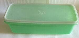 Rare Retro Vintage Green Oblong Tupperware H 12cm 14cm X 35.5cm
