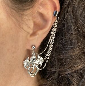 Lord of the Rings Dragon Smaug Silver 3-chain Ear Cuff Earring D&D DnD  Gift