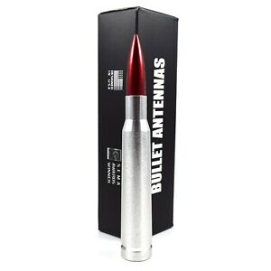 Anti-Theft Retractable Silver 50 Caliber Red Bullet Antenna For 90 06 GMC Chevy