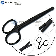 ODM Hair Nose Scissors 3 1/2'' Beard Eyelash Facial Trimming Full Black