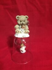 Clear Bell with Teddy Bear on Top and Angel Swinging