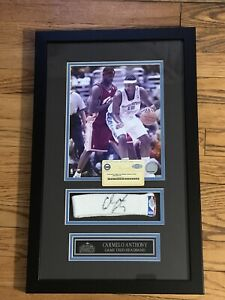 Carmelo Anthony Signed Autographed Game Used Headband Framed Steiner COA Auto