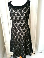 M&CO Black Cream Lace Fit & Flare Evening Party Cruise Dress Bardot neck Size 16