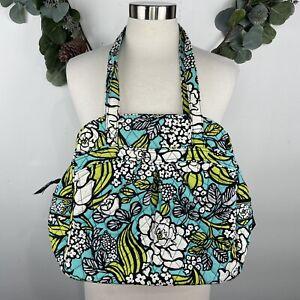 NEW VERA BRADLEY Island Blooms Floral Sweet Pleat Tote Shoulder Bag Green Blue