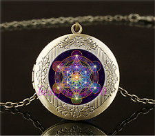 Vintage Metatron's Cube Photo Cabochon Glass Brass Locket Pendant Necklace