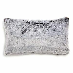 Hudson Park Collection Faux Fur Decorative Pillow, 12 x 20 Arctic Grey