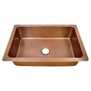 Single Bowl Single Wall Hammered Copper Kitchen Sink (without front apron)