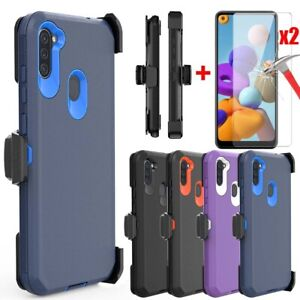 For Samsung Galaxy A21 A11 Phone Case Belt Clip Shockproof Cover/Tempered Glass