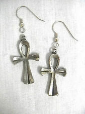NEW HAND CAST THICK ANHK / ANKH - TAU CROSS - ETERNAL PEWTER DANGLING EARRINGS