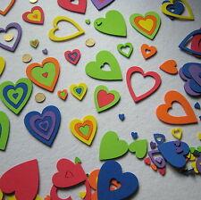 156 Corazones Grandes Huecos de goma EVA,  5 Tamaños, 6 Colores