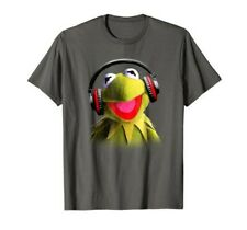 Disney's Muppets: Kermit wearing Headphones Gray Unisex T-Shirt And Brand New.