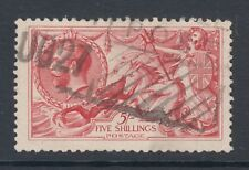 Great Britain Sc 180 used. 1919 5sh carmine rose Seahorses, F-VF