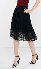 New EXPRESS $79 Black High Waisted Pleated Lace Hem Midi Skirt Size 2