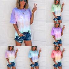 Women  Loose T-Shirt Tie-Dye Gradient  Shirts Short Sleeve Blouse Summer Tops UK