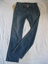 Earnest Sewn Donna Blue Jeans Stretch w25/l34 Low Waist Regular Fit Flare Leg
