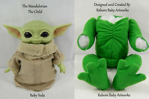 "Baby Yoda ""Grogu""  Deluxe Cuddle Body 18"" - 20"" Emerald Green Doe Suede"