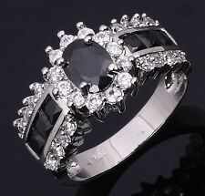 Jewelry Black Sapphire 18K Gold Filled Band Olive Cut  Size 10 Womens Rings