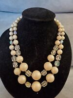 Vintage Champagne & Crystal Beaded 2 Strand Necklace 1950s