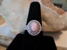 Judith Ripka Sterling Pink Opal Purple Diamonique Ring - New with Pouch, Sz 9