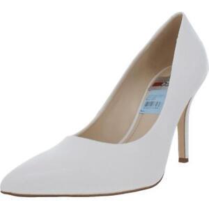 Nine West Womens Flax 3 White Faux Leather Heels Shoes 9 Medium (B,M) BHFO 2886
