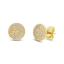 0.31 CT 14K Yellow Gold Natural Round Cut Diamond Pave Circle Stud Earrings Disc