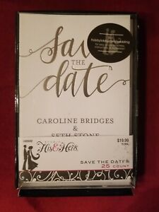 * NEW * 25 Personalized Wedding Save the Date Cards with Envelopes