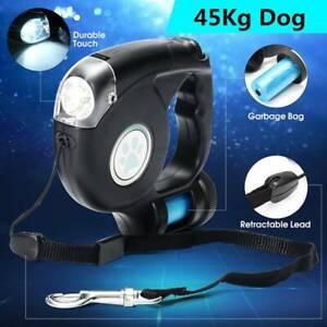 4.5M LED Flashlight Extendable Retractable Pet Dog Leash Lead+Garbage Bag CA c