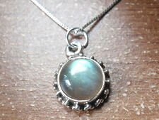 Small Round Labradorite Accented 925 Sterling Silver Pendant