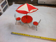LITTLE ROUND  TABLE AND 2 CHAIRS -   DOLL HOUSE Cafe Umbrella Large Metal