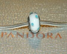 Pandora Sterling Silver White Teal Blue Polka Dot Murano Glass Bead Charm 790608