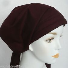 Solid Maroon Scarf Cancer Hat Chemo Hair Cotton Turban Headwrap Cap Alopecia