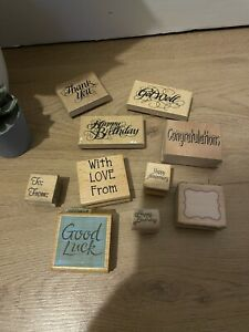Job Lot Mounted Wooden stamp Bundle Good Luck With Love