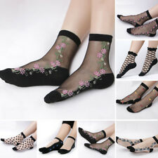 Women sexy Ladies Crystal Lace Glass Silk Flower Short Thin Transparent Socks